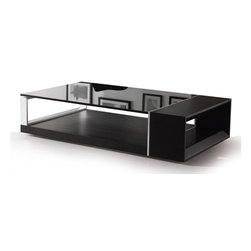 Modern Wenge veneered coffee table with black glass top Pretoro - Coffee table Pretoro is really different by its sharp modern design. Wenge colored oak wood veneer, metal accents and black tinted glass are the attributes making the design look striking and eye-catching.