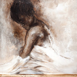 Scandinavian Art Factory - LARGE ARTWORK - You can almost feel the emotion depicted in this compelling painting. The pensive subject wraps herself in sheets, seeking comfort during an intense moment of sadness and vulnerability. It's a stunning work that captures part of the human condition.