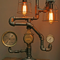 Machine Age Lamps Steampunk Gear Steam Gauge - Handmade one of a kind lamp, made from recycled parts and pieces.