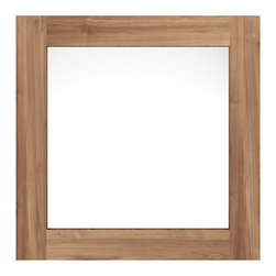 Modern Wall Shelf, Hangers, and Mirror Set, Mirror Only - Modern wall shelf ideal for small-space living, this wall tile offers a mirror with a trendy wood border for that last minute quick look before leaving the house.