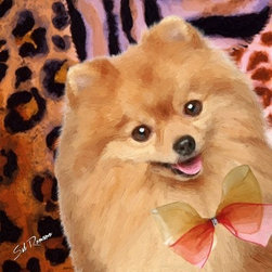 POPPA ARTZEE - Pomeranian Dog Pillow - Adorable dog paintings silk screened onto Pillows with vibrantly colored backgrounds.  These playful paintings are created by Scottsdale artist, Sal Romano.  Pillow Cover fabric is a durable finely woven washable polyester canvas with animal image on one side and solid black back with zipper and black piping all around.  Pillow insert is filled with polyester cluster fiber.