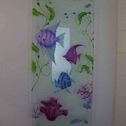 """Mirrors - Custom Mirrors for Bath & Wall Decor - Glass wall art by Sans Soucie creates a unique, custom element with unlimited possibilities.  Sans Soucie creates their designs in the glass thru sandblasting.  From simple frosted glass effects to our more extravagant 3D sculpture carving, painted and stained glass .. and everything in between, Sans Soucie designs are sandblasted different ways which create not only different effects but different levels in price.  The """"same design, done different"""" - with no limit to design, there's something for every decor, regardless of style.  Price will vary by design complexity and type of effect:  Specialty Glass and Frosted Glass.  For complete descriptions of glass types and effects, click here.  Available any size, all glass is custom made to order and ships worldwide at reasonable prices.  Glass wall art pieces are often hung by using metal stand-off posts that come in a variety of finishes, whatever will coordinate with your surrounding finishes.  From pieces above the fireplace, to hallways stair case areas, dining and living room, to bedroom and bathroom mirrors, these pieces are some of the most unique creations.  Glass thickness can range fro 1/4"""" to typically 1/2"""", depending on size and application.  When using clear glass rather than mirror, the wall color should be in a darker tone to create a contrast between the background and the white sandblast etching and carving, making it highly visible."""