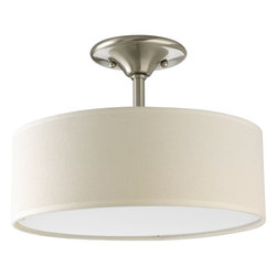 Progress Lighting - Progress Lighting Inspire Semi Flush Mount Ceiling Light X-90-9393P - Updated traditional with gracious flowing oval arms. Back to basics design styling. Off-white linen drum shades. White Acrylic diffuser.