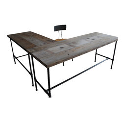 "Urban Wood Goods - Modern Industry L Shape Reclaimed Wood Desk, Natural, Standard, 72"" x 30"" - Corner office. Your new L-shaped reclaimed wood desk is a salute to industrial strength, workplace smarts and urban style … all achieved with disarming honesty and authenticity. Take your seat. You've officially arrived."