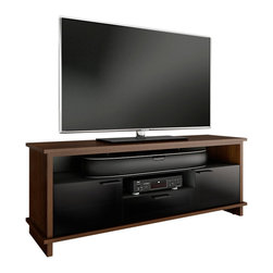 BDI - Braden TV Stand - The Braden TV Stand from BDI is the perfect way to support your TV and media accessories. Two grey tinted glass doors let remote control signals through but hide your media and mess from guests. A removable center shelf adds versatility that most media stands lack; use the shelf to support a soundbar or take it out for a taller center channel speaker.