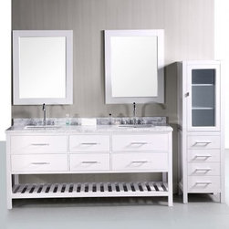Design Element London 72-in. White Double Bathroom Vanity Set - The Design Element London 72-in. White Double Bathroom Vanity Set has wide clean look that looks great in brightly lit or sun-facing bathrooms. The expansive frame of the piece is constructed from solid oak and finished in a brilliant white. The countertop is made from Carrera white marble and features two ceramic undermount sinks. Six roomy pull-out drawers are built into the frame accented with satin nickel finished hardware. About Design Element GroupBased in California the Design Element Group is quickly becoming an industry leader thanks to their focus on maintaining a position at the forefront of emerging trends in furniture design modern materials and quality craftsmanship. From their humble beginnings in 2010 Design Element Group has made quite the name for itself providing high-quality bathroom vanities at an affordable price. Each piece is professionally designed and handcrafted never mass-produced. Their passion commitment to their products and loyalty to their customer base has made the Design Element Group a company to take note of.