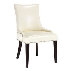 Home Decorators Collection - Becca Nailhead Dining Chair - Set of 2 - A customer favorite, our set of two Becca Nailhead Dining Chairs will help you create the perfect dining room. These comfortable chairs are available in a variety of upholstery options and are finished with nailhead accents. Can also be used as guest chairs in an office. All chairs have espresso finished legs except for the Linen with Brown Leather Back that has white-wash finished legs.