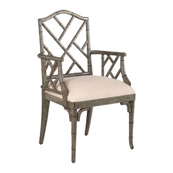 French Heritage - Moselle Arm Chair, Slate Grey - East meets west when Chippendale goes bamboo. Armchair is crafted of carved wood to look like bamboo. Makes a knockout accent item as well. Available as a side chair also. - Weight: 32lbs