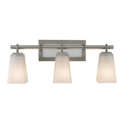 Murray Feiss - Murray Feiss Clayton Bathroom Lighting Fixture in Brushed Steel - Shown in picture: Clayton Vanity Strip in Brushed Steel finish with White Opal EtchGlass