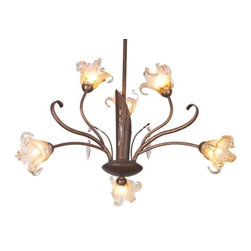 ET2 Lighting - Bloom Chandelier by ET2 Lighting - Inspired by Art Nouveau artist, Emille Galle, the ET2 Bloom Chandelier incorporates handmade glass shades that seem to bloom with light. The metal frame is hand-finished in Antique Bronze and is delicately accented by crystals that catch the light. Choose from 6 lights or 9 lights for the perfect amount of ambient illumination in the dining room or entry.ET2, headquartered in California, offers a range of exciting contemporary lighting fixtures that utilize crisp and clean glass styles and bright metal finishes to enhance modern and contemporary interiors. ET2 is a division of the Maxim Lighting Group.The ET2 Bloom Chandelier is available with the following:Details: Amber Murano glass shadesCrystal accentsMetal frameAntique Bronze finishRound ceiling canopyUL ListedOptions: Number of Lights: 6 Light, or 9 Light.Lighting:  9-light option utilizes nine 35 Watt 120 Volt G9 Xenon Frost lamps (included). 6-light option utilizes six 35 Watt 120 Volt G9 Xenon Frost lamps (included).Shipping:This item usually ships within 3-5 business days.