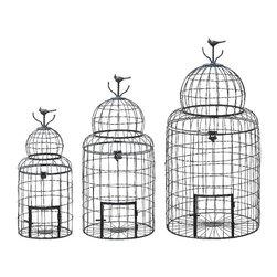 Woodland Imports - Set of Three Black Metal Wire Bird Cages Bird Patio Garden Decor - Vintage style set of three black metal wire bird cages in various sizes with bird detail on top home patio garden decor