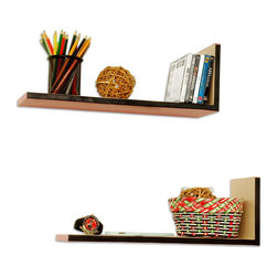 Blancho Bedding - [Elegent Alina] L-Shaped Leather Shelf / Bookshelf / Floating Shelf (Set of 2) - These beautifully crafted L Shaped Wall Shelves display the art of woodworking and add a refreshing element to your home. Versatile in design, these leather wall shelves come in various colors and patterns. They spice up your home's decor, and create a multifunctional storage unit for all around your home. These elegant pieces of wall decor can be used for various purposes. It is ideal for displaying keepsakes, books, CDs, photo frames and so much more. Install as shown or you may separate the shelves to create a layout that suits your taste and your style. Each box serves as a practical shelf, as well as a great wall decoration. Each measures approx. 19.3(W) x 6.7(H) x 5.9(D) inches, Thick: 0.6 inches.
