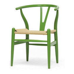 Baxton Studio - Mid-Century Modern Green Wood Y Wishbone Chair - Add this unique green-wishbone chair to your home collection. Made of solid wood with a natural hemp seat,this mid-century chair features a distinctive wishbone design and a curved backrest. This sturdy chair is funky and eye-catching.