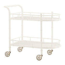 Lexington - Tommy Bahama Home Ivory Key Warwick Tea Cart - The top surface is glass over decorative fretwork while the lower shelf is wood. Both are surrounded by a bamboo inspired gallery rail to get items from slipping off during transport. The rubber tread casters ensure a smooth ride.