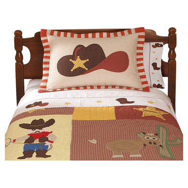 Pem America - Cowboy Twin Sheet Set - Cowboys features classic images of the Wild West with boots, a ten gallon hat, and the Sherriff�s star. The sheet set is a white base with embroidered icons at the hem. Be sure to check out the coordinating quilt and accessories. Sheet set includes: 1 flat sheet, 1 fitted sheet, and one pillowcase to fit a twin size bed (39x75 inches). 200 thread count 100% cotton sheeting material with embroidered hem treatments. Care Instructions: Machine wash cold/gentle, do not bleach, tumble dry low.