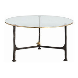 Arteriors Home - Arteriors Home Narnia Iron/Glass Cocktail Table - Arteriors Home 3144 - Arteriors Home 3144 - Round cocktail tables may seem a dime a dozen, but that's only because you've been looking at the wrong ones. Certainly you haven't admired this elegant glass-top piece with black iron base and gold leaf accents. A star-shaped ornament at the intersection of the iron bars puts this table in a category all its own.