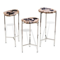 Interlude - Armani Petrified Wood Drink Tables - Organic, polished petrified wood slabs couldn't be chicer when they're supported by shiny metal legs.