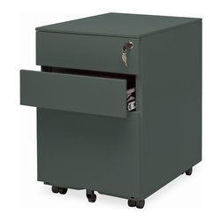 """Blu Dot - """"Blu Dot Filing Cabinet No. 1, Simple Grey"""" - """"Straighten up.  This modern file pedestal gets the job done.  A clean, powder coated steel exterior allows this unit to sit quietly in any environment, residential or commercial.  It's so unassuming we named it Filing Cabinet No. 1.  Locking file storage accommodates standard sized files.  Oh, and it has wheels, too."""""""