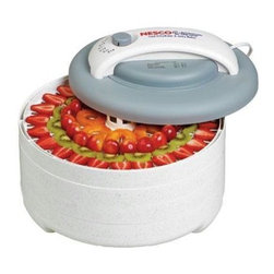 "Metal Ware Corp. - Nesco 500 Watt Dehydrator Kit - Nesco FD-61 Snackmaster Encore Food Dehydrator Kit with five trays and Jerky Gun. Introducing the Snackmaster Encore. It's Grey top and speckled design features 500 watts of drying power, and generates maximum speed and quality for dehydrating fruits, vegetables, beef jerky, and venison jerky. Helps dry food in hours, not days like ordinary food dehydrators. The top mounted fan eliminates liquids dripping into the the heating chamber! FEATURES: Adjustable Thermostat. The adjustable thermostat allows you to dry different foods at proper temperatures (95-155 degrees F), providing the flexibility to produce the best drying results. Powerful Top Mounted Fan. Top mounted fan and 500 watts of drying power generate maximum speed and quality for dehydrating fruits, vegetables, and jerky. Helps dry food in hours, not days like other food dehydrators. Expandable FD-61 comes with 4 trays, but is expandable to 12 trays with optional Add-A-Trays(LT-2GP). Trays are 13.5"" in diameter. Opaque Vita-Save exterior helps block harmful light which destroys nutritional content of food being dehydrated. Patented Converga-Flow drying system forces air down the exterior pressurized chamber (not through the trays). The hot air is forced horizontally across each individual tray, converging on the core for fast, even and nutritious drying. No flavor mixing and no need to rotate trays. Great for dehydrating fruit rollups, banana chips, beef jerky, venison jerky, and other healthy snacks."