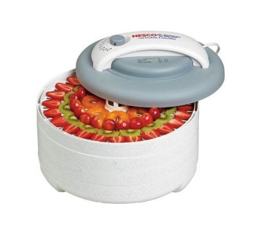 """Metal Ware Corp. - Nesco 500 Watt Dehydrator Kit - Nesco FD-61 Snackmaster Encore Food Dehydrator Kit with five trays and Jerky Gun. Introducing the Snackmaster Encore. It's Grey top and speckled design features 500 watts of drying power, and generates maximum speed and quality for dehydrating fruits, vegetables, beef jerky, and venison jerky. Helps dry food in hours, not days like ordinary food dehydrators. The top mounted fan eliminates liquids dripping into the the heating chamber! FEATURES: Adjustable Thermostat. The adjustable thermostat allows you to dry different foods at proper temperatures (95-155 degrees F), providing the flexibility to produce the best drying results. Powerful Top Mounted Fan. Top mounted fan and 500 watts of drying power generate maximum speed and quality for dehydrating fruits, vegetables, and jerky. Helps dry food in hours, not days like other food dehydrators. Expandable FD-61 comes with 4 trays, but is expandable to 12 trays with optional Add-A-Trays(LT-2GP). Trays are 13.5"""" in diameter. Opaque Vita-Save exterior helps block harmful light which destroys nutritional content of food being dehydrated. Patented Converga-Flow drying system forces air down the exterior pressurized chamber (not through the trays). The hot air is forced horizontally across each individual tray, converging on the core for fast, even and nutritious drying. No flavor mixing and no need to rotate trays. Great for dehydrating fruit rollups, banana chips, beef jerky, venison jerky, and other healthy snacks."""