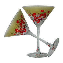 Berries 'n Branches Martini Glasses   Set of 2 - This lovely hand painted martini glass features cheerful Berries and Branches.  Perfect for the Holidays or any season.  Something to be handed down from generation to generation.  Proudly hand painted in the USA.