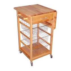 Chrome Wire Basket Kitchen Cart - The space-saving Chrome Wire Basket Cart is the perfect choice for your modern kitchen. This cart features a drawer, handy drop leaf that allows you to maximize your work surface, three wire storage baskets, and a towel bar. The nickel-plated baskets can be removed for easier access. This item is made from oil-finished natural yellow birch hardwood, which is indigenous to the Northeastern U.S. and ranges in color from blond to a darker walnut shade; the natural variation in color allows this cart to coordinate with your existing decor. Locking caster wheels provide convenient mobility or stationary use as needed.Dimensions:Overall (assembled): 32.75W x 21D x 35.75H inchesTabletop (drop leaf down): 20W x 21D inchesInterior drawer: 13.38W x 14.88D x 4.75H inchesIndividual Basket: 13.5W x 16D x 5H inches This cart ships ready to assemble. The process is easy, requiring only common household tools. Furniture will be shipped with all other necessary hardware and easy-to-follow instructions.The top of this cart is made for chopping and cutting, and any scratches can be removed with high-grit sandpaper. Recent studies indicate that wood is safer for food preparation than plastic or glass cutting boards; bacteria like salmonella disappear quickly on wood, but tend to live and thrive on plastic. You should always clean your wooden cutting board surface with soapy water, taking care to remove any food particles and dry the board immediately.To maintain the beautiful finish of your butcher block top, always wipe clean with a damp sponge or cloth and use a mild detergent. You should never soak the wood or let water stand for long periods of time, as it affects the grain. Rinse well and towel-dry before applying new oil. We recommend Catskill's Original Butcher Block Oil, although drug store mineral oil can also be effective in sealing wood. Oil will enhance the color of the wood and offer short-term protection. The old adage of oiling the surface once a week for the first month and once a month for the first year is appropriate, imbuing your cart or island with a rich, golden glow.About CatskillBased in Stamford, New York, Catskill Craftsmen is the nation's leading manufacturer of ready-to-assemble kitchen islands, carts, and work centers. Every item is made from naturally self-sustaining, non-endangered North American hardwoods like birch and hard rock maple. Because all sawdust, shavings, and waste materials generated during the manufacturing process are converted into wood pellet fuel, Catskill Craftsmen generates no wood waste. Founded in 1948, this privately held company is dedicated to offering high-quality products at fair prices and the best customer service in the industry.