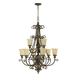 Quorum Lighting - Quorum Lighting Fulton Traditional Chandelier X-45-9-2306 - Cascades of scrolling details are complimented by a warm Classic Bronze finish on this stylish Quorum Lighting chandelier. From the Fulton Collection, the entire design is classic from the scrolling arms to the traditional finishes to the multiple tiers of lights. For added appeal, it also features warm toned amber scavo glass shades.