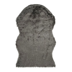 Safavieh - Adelise Faux Sheepskin Rug, Gray, 2' x 3' - Construction Method: Hand Tufted. Country of Origin: China. Care Instructions: Vacuum Regularly To Prevent Dust And Crumbs From Settling Into The Roots Of The Fibers. Avoid Direct And Continuous Exposure To Sunlight. Use Rug Protectors Under The Legs Of Heavy Furniture To Avoid Flattening Piles. Do Not Pull Loose Ends; Clip Them With Scissors To Remove. Turn Carpet Occasionally To Equalize Wear. Remove Spills Immediately.