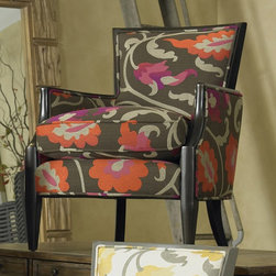 Sam Moore - Sam Moore Nadia Exposed Wood Chair - Tropic Multicolor - 4508.21/ZIRCONA TROPIC - Shop for Living Room Chairs from Hayneedle.com! The Sam Moore Nadia Exposed Wood Chair - Tropic is tastefully sexy. This lounge chair is covered in a luxurious modern floral print with a handsome dark wood frame for contrast. It has a blendown seat cushion welt trim and slender tapered legs. About Sam MooreSince 1940 Sam Moore's hand-crafted upholstered furniture has offered extraordinary quality comfort and style. This Bedford Virginia-based company proudly crafts its products right here in the USA. From classic to transitional to contemporary styles Sam Moore takes time with every detail making sure each piece is something you'll appreciate in your home.