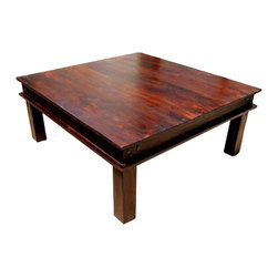 "Sierra Living Concepts - Rustic Solid Wood 34"" Square Cocktail Sofa Coffee Table - Simply Elegant Cherry Finish 34"" Square Coffee Table."