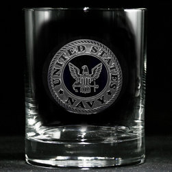 "Crystal Imagery, Inc. - Navy Whiskey, Scotch, Bourbon Rocks Glass Set, Engraved - Engraved Navy scotch or whiskey glasses are a cool gift for military personnel for retirement or officer promotion. Deeply carved using our sand carving technique, each whiskey, scotch, bourbon glass is meticulously custom made to order making it the perfect gift for those seeking unique gift ideas for whiskey lovers - men and women alike. At 3.6"" high x 3.4"" wide, our whiskey glasses and scotch glasses hold 11 oz. A set of these etched whiskey glasses will be the favorite gift at any special gift giving occasion. Dishwasher safe. SOLD AS A SET OF 4."