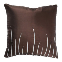 "Rizzy Home - T-2289 18"" Decorative Pillow in Brown (Set of 2) - Distinctive and elegant, these decorative accent pillows are versatile enough to be used in any room of the home. Rich hues and textural accents will allow you to add your signature touch and create your own style. Features: -Color: Brown. -Material: Poly / silk. -100% Siliconized polyester fiber filler. -Zippered pillow cover with poly fill insert. -Dry clean only."