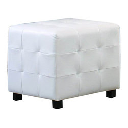 Homelegance - Homelegance Sparkle Upholstered Ottoman Cube in White Bi-Cast Vinyl - The glamour girl in your life will swoon when she opens her bedroom door to the Sparkle collection. Fashion forward and scaled to fit her needs, this trendy bedroom will make her the envy of all of her friends. white bi-cast vinyl is featured not only on the tufted headboard, but on the-drawer fronts of each case piece and coordinating vanity and storage stools. Clear hardware is faceted for maximum sparkle and punctuates each-drawer front. Matching vanity features a hidden mirror within the lift top storage area.