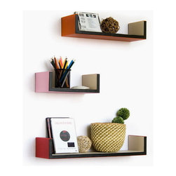 Blancho Bedding - Bonny Bonny U-Shaped Leather Wall Shelf / Bookshelf / Floating Shelf Set of 3 - These beautifully crafted U Shaped Wall Shelves display the art of woodworking and add a refreshing element to your home. Versatile in design, these leather wall shelves come in various colors and patterns. They spice up your home's decor, and create a multifunctional storage unit for all around your home. These elegant pieces of wall decor can be used for various purposes. It is ideal for displaying keepsakes, books, CDs, photo frames and so much more. Install as shown or you may separate the shelves to create a layout that suits your taste and your style. Each box serves as a practical shelf, as well as a great wall decoration.