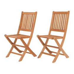 International Home Miami - Amazonia Teak London 2-Piece Teak Folding Chair - Great Quality, elegant design patio set, made of 100% high quality Teak wood. Enjoy your patio with style with these great sets from our Amazonia Teak outdoor collection