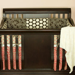 Cotton Tale Designs - Raspberry Dot 4 Piece Crib Bedding Set - A quality baby bedding set is essential in making your nursery warm and inviting. All Cotton Tale patterns are made using the finest quality materials and are uniquely designed to create an elegant and sophisticated nursery. Wonderful color texture in cream, chocolate, and bright Raspberry Dot. Patched, sectional bumper with Raspberry Dot back. Sheet in soft minky. Bed skirt in Raspberry stylized animal print. Coverlet in faux rabbit skin with minky back. A great, fun set for our baby girl's nursery. Wash gentle cycle, separate, cold water. Tumble dry low or hang dry.