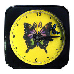 Butterfly Alarm Clock - Great for kids or adults, our Butterfly Alarm Clock can't help but make you smile. The second hand is a tiny butterfly which flies around the larger one as it counts the seconds. Each clock is 2'' square with a round face, comes in a gift box and includes a free battery. Made in the USA. (Be sure to look for our butterfly wall clock, night light and magnets, too!)