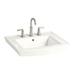 KOHLER - KOHLER K-2358-1-0 Archer Pedestal Bathroom Sink with Single Faucet Hole - KOHLER K-2358-1-0 Archer Pedestal Bathroom Sink with Single Faucet Hole in White