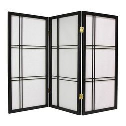 Oriental Unlimted - 3 ft. Tall Desktop Shoji Screen (3 Panels / Black) - Finish: 3 Panels / BlackScreens may vary slightly in color. An attractive Zen influenced design. Ideal for use anywhere a shorter screen is preferred (to hide an unsightly area, fireplace screen, kid's play area, etc.). Crafted from durable, lightweight Scandinavian spruce. Crafted using Asian style mortise and tenon joinery. Fold slightly to stand upright. Shade is strong. Fiber reinforced pressed pulp rice paper allows diffused light. Provides complete privacy. Lacquered brass, 2-way hinges mean you can bend the panels in either direction. Black finish. Assembly required. Each panel: 17.5 in W x .75 in. D x 35.75 in. H