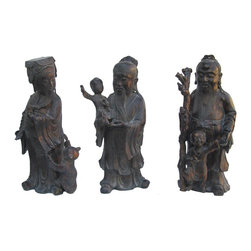 Golden Lotus - Chinese Handmade Fu Lu Shou 3 Immortals Bronze Statues - Fu Lu Shou are 3 most famous immortals in China. They represent Fortune, Wealth and Longevity.
