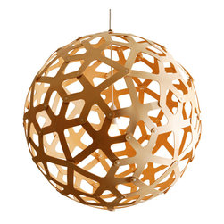 David Trubridge - David Trubridge Coral 400 Pendant Lamp, Natural | Design Public - This coral-reef-inspired lamp features a series of extended stems, creating an organic pattern. Its peek-a-boo design allows you to enjoy the silhouette on the outside, yet still see what's under the surface.