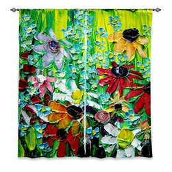 "DiaNoche Designs - Window Curtains Unlined - Aja-Ann Stories From a Field Act lxxvii - DiaNoche Designs works with artists from around the world to print their stunning works to many unique home decor items.  Purchasing window curtains just got easier and better! Create a designer look to any of your living spaces with our decorative and unique ""Unlined Window Curtains."" Perfect for the living room, dining room or bedroom, these artistic curtains are an easy and inexpensive way to add color and style when decorating your home.  The art is printed to a polyester fabric that softly filters outside light and creates a privacy barrier.  Watch the art brighten in the sunlight!  Each package includes two easy-to-hang, 3 inch diameter pole-pocket curtain panels.  The width listed is the total measurement of the two panels.  Curtain rod sold separately. Easy care, machine wash cold, tumble dry low, iron low if needed.  Printed in the USA."