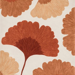 """Loloi Rugs - Loloi Rugs Flora Collection - Ivory / Rust, 5'-0"""" x 7'-6"""" - Flora reinterprets floral prints into bold, over scaled botanicals, with soft touches of color throughout. Hand tufted in China, each rug features gorgeous abrashes details in the design, mimicking the natural imperfections seen in real florals. Hand carved detailing also serves to enhance the pattern. And because Flora is crafted with 100% polyester, shedding is very limited and colors remain strong for years."""