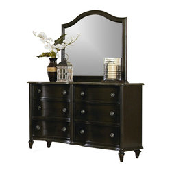 Magnussen - Magnussen Wilkesboro Dresser and Landscape Mirror in Antique Black - Magnussen - Dressers - B2343XXKIT - This Wilkesboro dresser with mirror has a stunning design that blends traditional aesthetics with modern styling. It features curved panels relaxed stone detailing with gunmetal and gray stone hardware accents. The graphite finish adds to its charm. Its dresser has six tinted drawers with English dovetail at the back and front. The top drawer is felt lined and can hold your prized possessions.