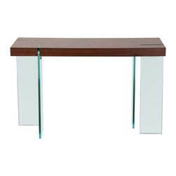 "Diamond Sofa - Glass Leg Console Table with Java Veneer Top - This 47 Inch Rectangular Console Table by Diamond Sofa fuses together the block design of the table top accented with the modern look of the alternating clear, tempered glass legs. A uniquely inspiring piece is the result. With its spacious surface area, this contemporary design boasts an undeniable eye appeal from top to bottom bringing a dose of chic styling to your living area. Overall table dimensions are 47 Inches long by 16 Inches wide by 30 inches high.; 47 Inch Rectangle Console Table; Java Veneer Top; Clear, Tempered 19mm Glass Legs; Alternating Leg Design for Added Stability; Sleek, Confident Design; Primary Material: MDF with Veneer; Weight: 74 lbs; Dimensions: 47""L x 16""W x 30""H"