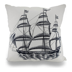 Nautical Navy Blue and White Sailboat Throw Pillow 18 in. - Adding a beautiful touch of nautical charm is so easy with this stylish throw pillow just brimming with seafaring flair that`s perfect for your living room sofa or couch, to decorate a corner chair in the office, or as the finishing touch to a beach-side cottage. A navy blue printed image of a large sailboat stands out on a crisp white background on this 18 inch high by 18 inch long (46 by 46 cm) pillow. It has a 100% cotton canvas cover with a hidden zipper on the back to easily remove the 100% polyester filled insert, and is recommended to spot clean only. This pillow would look just as great tossed on a bed as it would tucked under your arm while reading the paper, and would make a wonderful gift that any sailing or aquatic enthusiast is sure to admire!