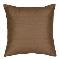 The Silk Group - Golden Bronze 18x18-Inch Square Silk Dupioni Luxury Decorative Pillow Cover Only - - Handcrafted in the USA, these decorative pillows are ideal for adding that special finishing touch to any space. Available in over 100 colors, several of them can be combined for a grouping of complementary colors or contrasting shades. They feature 100% Grade A Silk Dupioni, the finest, highest quality, most exquisite silk fabric on the market. A high quality knit backing is permanently bonded to the back of the fabrics used in our pillows. The knit backing adds body, increased stability, and longevity to the pillow. An invisible, color-coordinated zipper is discretely placed on the bottom edge of the pillow, so both faces of the pillow are able to be displayed. The fabric face has been treated with the most durable and permanent eco-friendly stain, moisture and UV repellents available. Using nanotechnology, the repellents penetrate deeply into the fibres of the fabric through a gentle heat curing process. This provides long lasting protection from water, alcohol, and oil-based stains as well as resistance from fading, and discoloring over time  - Pillow cover only  - Laundering Information: Dry clean only  - Made in USA The Silk Group - SQ_Dup_Sol_Golden_Bronze_18x18_CO