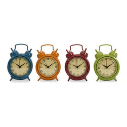Corblin Desk Clocks - Set of 4 - *Set of four desktop clocks in bright, vivid colors.