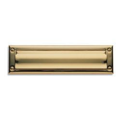 Baldwin Hardware - 0014 Letter Box Plate in Lifetime Polished Brass (0014.003) - Feel the difference Baldwin hardware is solid throughout, with a 60 year legacy of superior style and quality. Baldwin is the choice for an elegant and secure presence. Baldwin guarantees the beauty of our finishes and the performance of our craftsmanship for as long as you own your home.