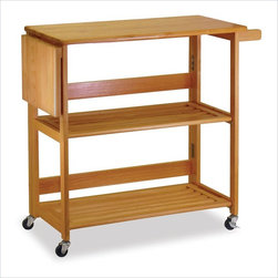 Winsome - Winsome Foldable Butcher Block Kitchen Cart in Light Oak - Winsome - Kitchen Carts - 34137 - Receive all the help you need in the kitchen with the Winsome Light Oak Kitchen Cart. The cutting board knife holders and shelves make food preparation a breeze. So make a delicious gourmet meal with ease with the Winsome Kitchen Cart.